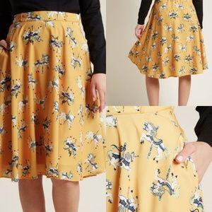 MODCLOTH Yellow Carousel Horse Print Midi Skirt